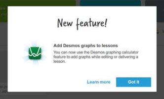 New feature announcement for Desmos Lumio integration.
